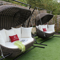 Clam Shell Inspired Design Poly Rattan Hammock for Outdoor Garden Balcony