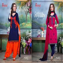 thread worK girls cotton dress for girls /kids material ladies plain salwar kameez suit wholesale