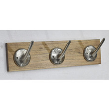 Wall mounted coat organizer with handmade metal hooks