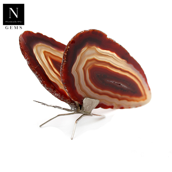 Home decor decoration antique healing crystals geode slices wings red agate butterfly