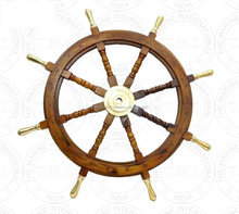 "Brass Handle Nautical Wooden Ship Wheel 36"" ~ Craft Boat"