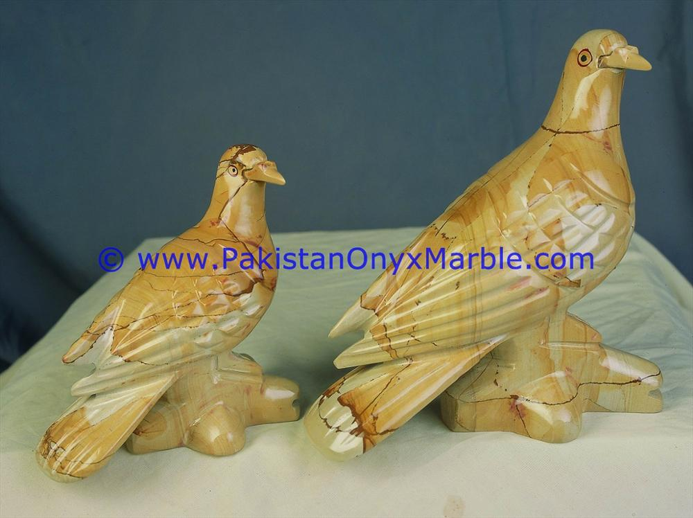 BEAUTIFUL MARBLE BIRDS DOVE STATUE SCULPTURE FIGURINE HANDCARVED