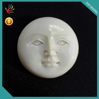 Bone Carving Moon Face Open Eyes at Low Price 100% in Handmade