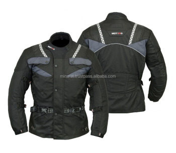 Black Motorcycle Motorbike Armoured waterproof Cordura Textile Jacket Collection All Weather CE Approved