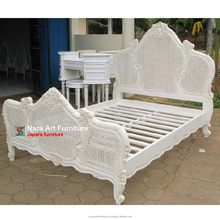 White French Mahogany Bed With Rattan