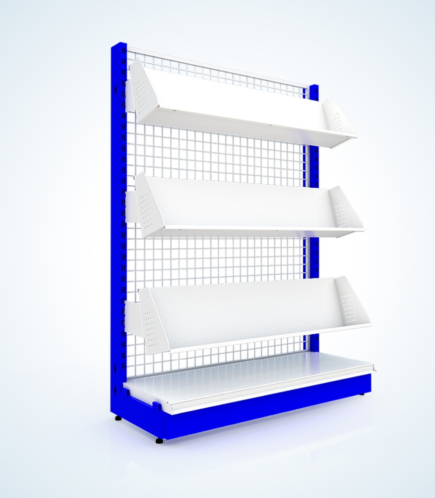 4-Tier 300 x 900 x 1500 mm. Book Stand with Netting/Perforated/Plain Back Panel