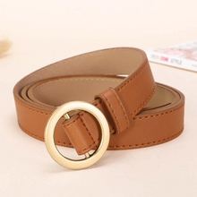 No Hole multiple color <strong>Belt</strong> Fashion Women retro Designers Leather <strong>Belt</strong> With Round Buckle
