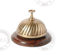 Brass Desk Bell with Wooden Base ~ Collectible Office Table Bell