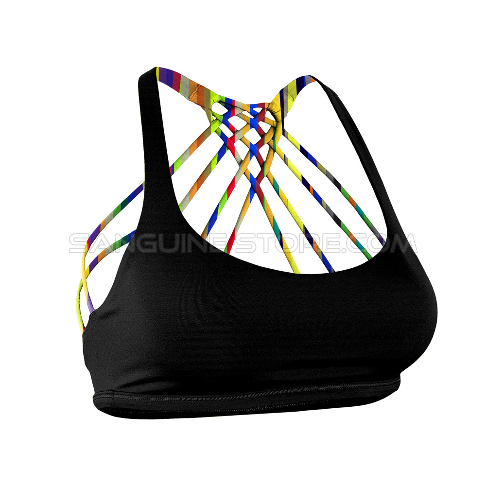 Mythical Magical Sports Bra with multiple stripes and color splashing inner layer (limited edition 2017)