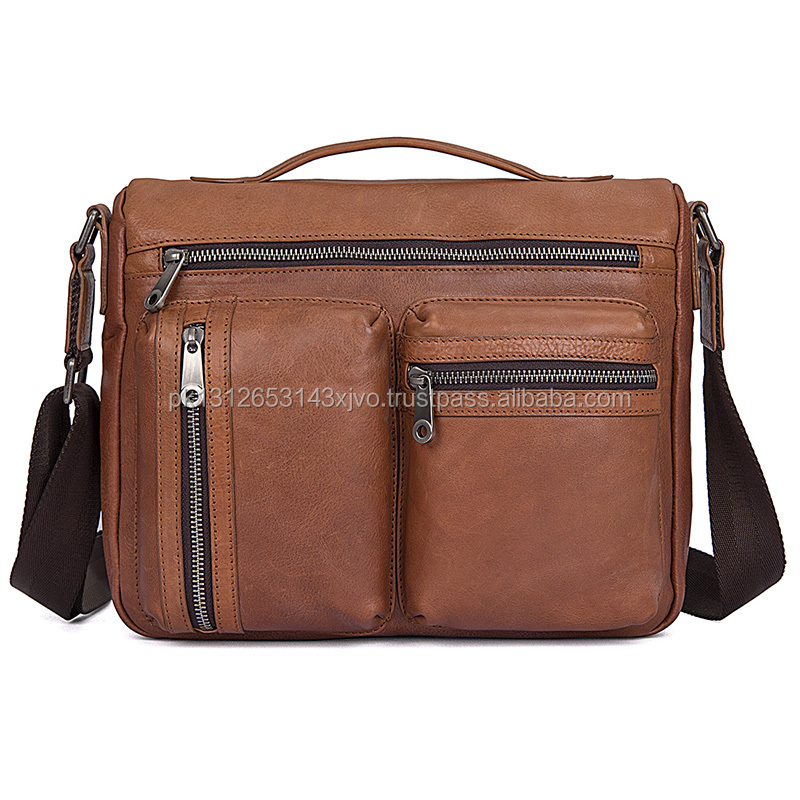 Brown Cowhide Leather Messenger Bag
