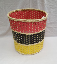 Rattan core basket mix plastic lines in three colors from Vietnam