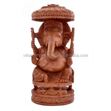 Exclusive Indian wooden hand carved elephant Lord Ganesha temple sculpture for home and office gift item