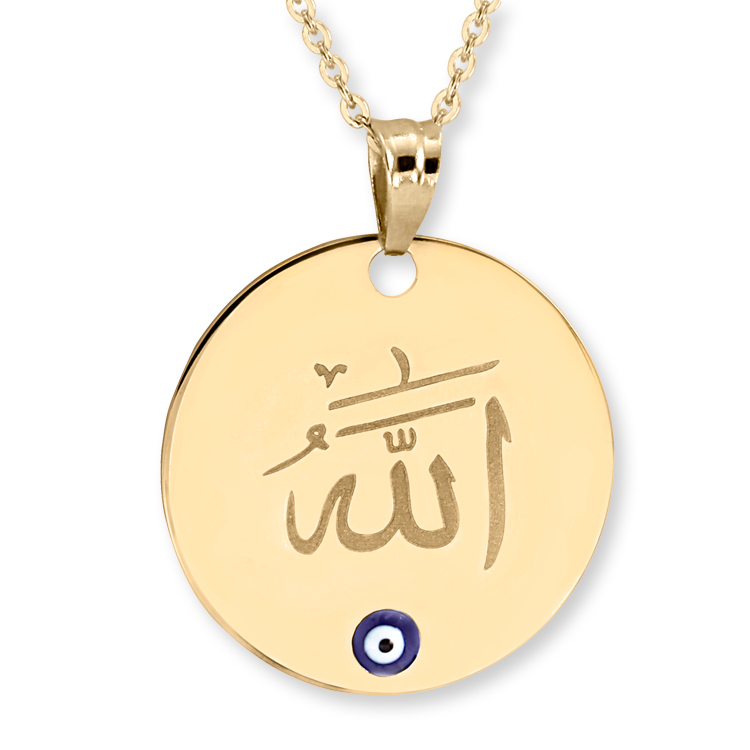 14k gold God name plate necklace with evileye