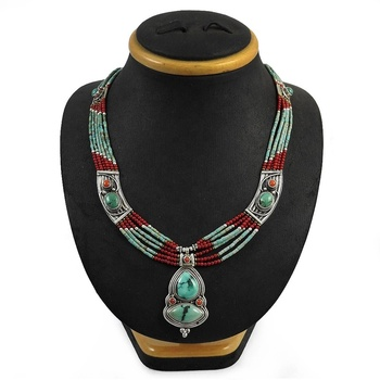 Elegant ladies coral turquoise jewelry 925 sterling silver necklace wholesale indian silver jewelry necklace