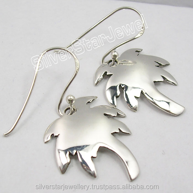 925 Solid Sterling Silver COCONUT TREE ONE OF A KIND Earring INDIAN JEWELLERS Matching Pendant available for Set