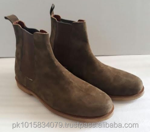 Olive Green Genuine Leather Chelsea Boots Men. Hand Made Water Proof High Quality Stunning Men Shoes