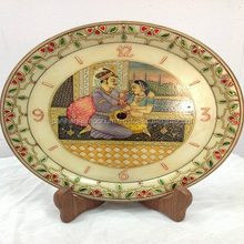Mughal Painted Marble Gold Work Handcrafted Home Decor Plate