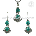 Imperious look turquoise gemstone 925 sterling silver jewelry set indian wholesalers