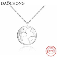 Fashion 925 Silver Earth Map Globe Necklace Sterling Silver