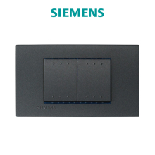 High Quality On/Off Wall Switches 2 Gang 1 Way SIEMENS Delta Azio Carbon Metallic