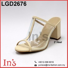 Malaysia Nude & Transparent Color Lady Wedges Sandal High Heels Shoes