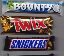Snickers, Twix, Bounty, Lion, M&M's, Milka, Toblerone, Maltesers Chocolate Bars