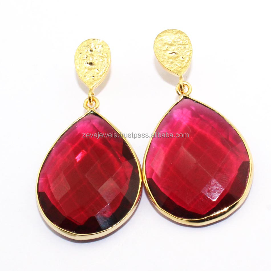 Latest Fashion Trend Earring Pink Quartz 24 Gold Plated Gemstone Handmade Earring Jewelry