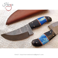 HISDK2 Polished Blue Color Wood And Horn Handle Damascus Steel Sharp Blade Skinner Hunting Knife