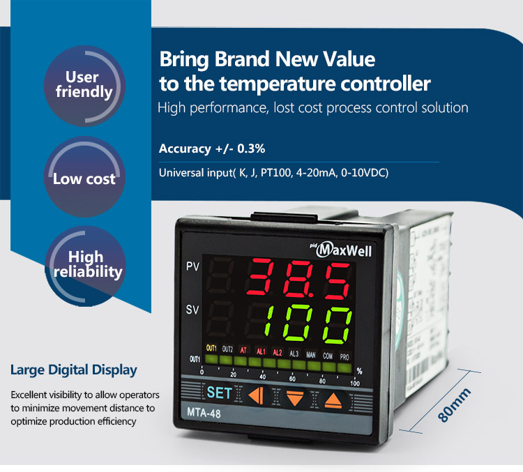 thermometer controller pid ssr dual digital display pyrometer