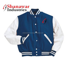 White Leather Sleeves Royal Wool Varsity Jacket,royal blue varsity jacket,wool body and leather sleeves varsity jacket