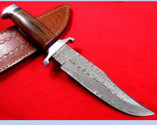 Custom Handmade Damascus steel Bowie knife with Rose Wood Handle