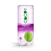 Whosaler Halal Haccp Iso 250ml Pet can grape falvor with sparking coconut water