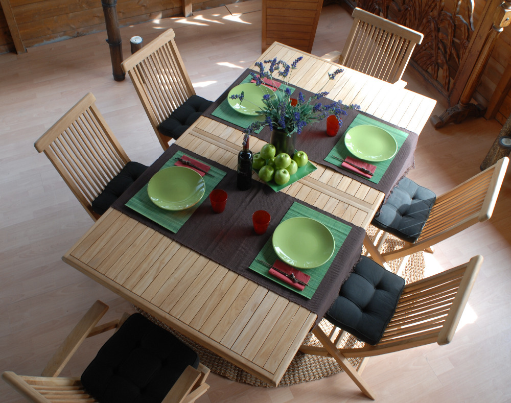 Luxury StyleTeak Wood outdoor Dining Table Set - Garden Supply Furniture