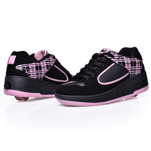 Perfect good prices kids sport shoes with light Roller Shoes Black Pink