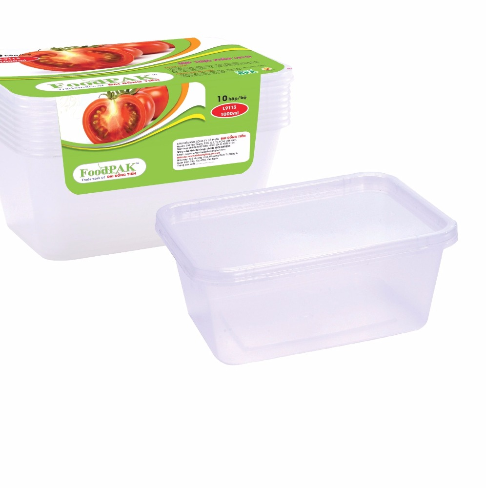 Disposable plastic rectangle food container for food take away and microwave, lunch box 650ml