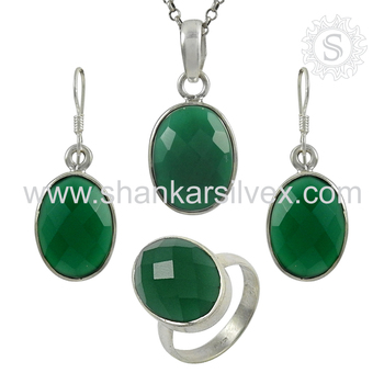 Glamorous green onyx jewelry set handmade 925 sterling silver jewelry wholesaler online