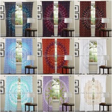 Ombre Mandala Indian Handmade Cotton Curtains 2 Valances Room Divider Panel Boho Curtains