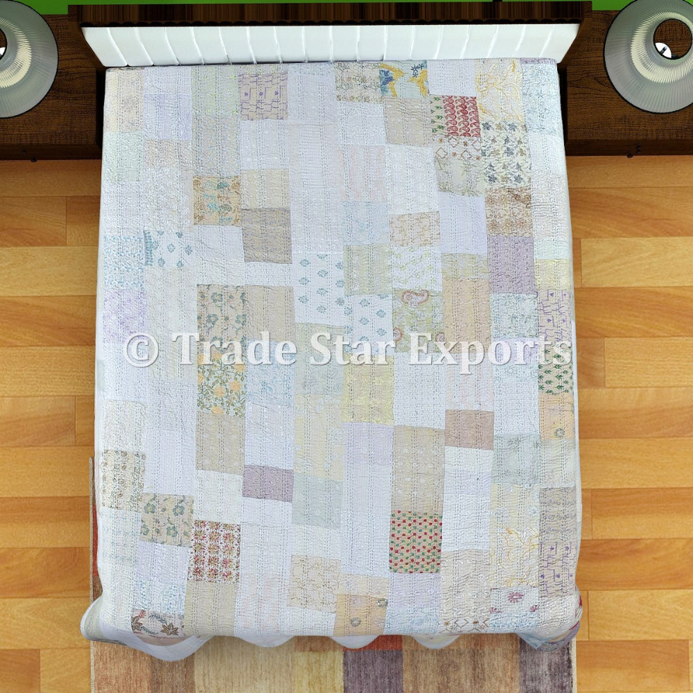Indian Cotton Silk Patola Sarees Patchwork Bed Cover Kantha Quilt Bedspread