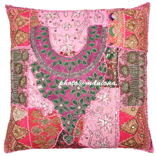 Hot Pink Decorative Wholesale Beaded Embellished Living Room Indian Handmade Cushion Cover 26*26