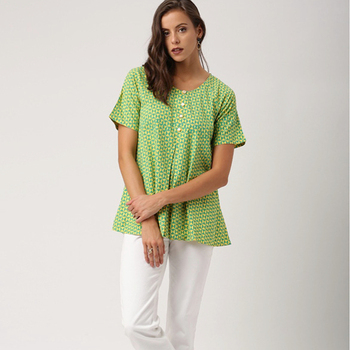 Ladies' Blouses & Tops Kimono Style Round Neck Top with Three Quarter Sleeves and Geometric Prints Top Casual Woman Tops