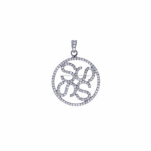 925 Sterling Silver S Latter Round Shape Pendant Wholesale Natural Diamond Jewelry