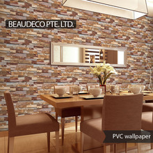 pvc vinyl modern 3d stone designs home wallpaper for room decoration