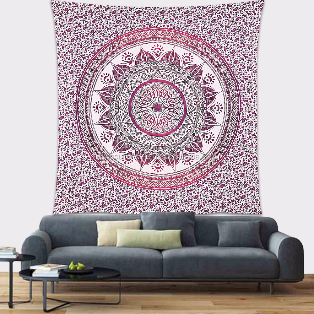 Mandala Wall Tapestry Queen Purple Throw Printed 100% Cotton Wall Decor Floral Blanket Boho Mandala Wall Hanging Wall Tapestry