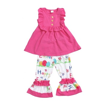 wholesales kids girls baby clothing solid color sleeveless top ruffle pants Happy Easter letter print girls 2pc set
