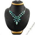 Wedding specialized turquoise necklace women jewellery wholesale 925 sterling silver multi gemstone necklaces jewelry