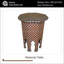 Handcrafted Mother of Pearl Inlaid Moroccan Wood Side Coffee Table