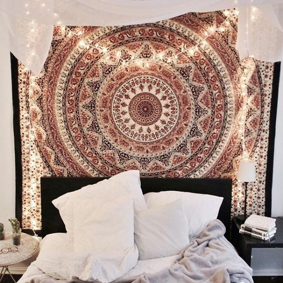 Indian Cotton Wall Decor Hippie Ombre Mandala Wall Art Tapestry Golden Queen Size Bedding Wall Hanging Tapestry