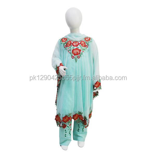 Party Wear Embroidered Net Frock
