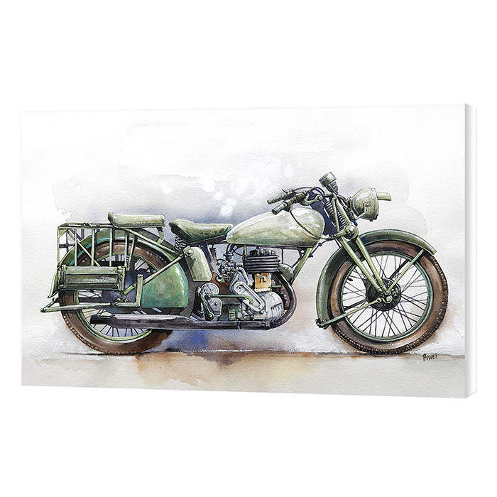 Malaysia Print Malaysia Print Watercolor Motor Cycle Vehicle Printed on High Quality Canvas