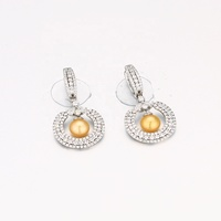 wholesale fashion jewelry 925 sterling silver golden freshwater pearl earrings